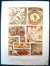 Stampa antica CATACOMBE di ROMA Decorazioni pecore 1920 Old antique print Rome