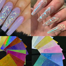8Pcs Butterfly Wings Holographic 3D Nail Art Stickers Decal Self Adhesive Decor