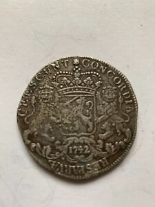 Dutch silver large coin Rijder 1742 Ducaton