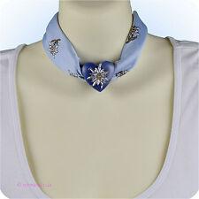Trachtentuch Halstuch Tuch blau hellblau Edelweiß mit Herz Anhänger Schalhalter