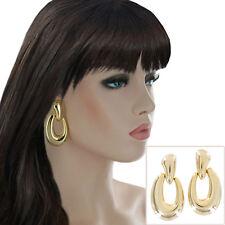Vintage 1980s Gold Tone Pierced Earrings Mega Big Large Door Knocker Lightweight
