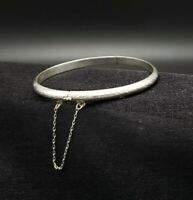 Vintage Solid Sterling Hinged Bangle Bracelet Engraved With Safety Chain