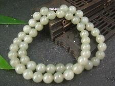 Chinese Antique Celadon Nephrite Hetian- Jade 8mm Necklace Pendant168
