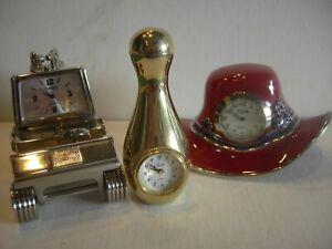 3 Vintage Mini Clocks-Collezio Bowling Pin-Timex Golf Cart-Elgin Red Hat-All Run