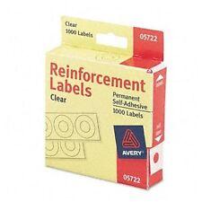 "Avery Reinforcement Label - 0.25"" Diameter - Polyvinyl - 1000 / Pack - Clear"