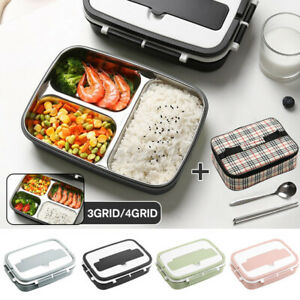 Portable Stainless Steel Thermos Lunch Box Bento Food Container Kids Adult + Bag
