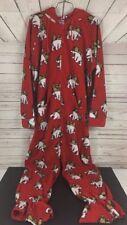 Christmas Adult Onsie Pajamas Body Suite Polar Bear Red Medium 5ft With Hood