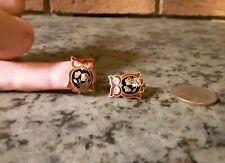 Gold Toned Clip-On Earrings-Enamel Owls
