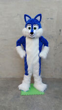 Deluxe Long Fur Blue Husky Mascot Costume Free Shipping Birthday Party Halloween