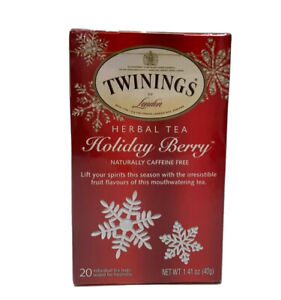 Twinnings Holiday Berry Herbal Tea caffeine free 20 tea bags 1.41 oz Exp 5/14/22