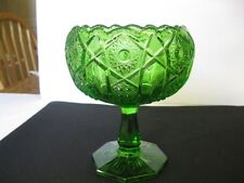 Kemple Mckee Glass Green Star Cane QUINTEC Compote Candy Dish
