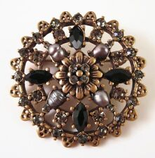 £40 Baroque Gold Black Pearl Flower Round Brooch Swarovski Elements Crystal