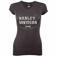 Harley Davidson HD Womens Sturgis Silver Wings Gray Short Sleeve V-Neck T-Shirt