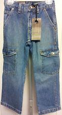 Boys Size 5 Cargo Jeans Adjustable Waist Medium Wash 5 Pockets Premium Denim