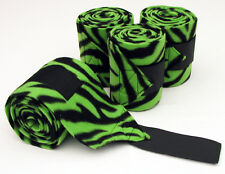 BLACK & LIME GREEN ZEBRA PRINT - FLEECE POLO LEG WRAPS – HORSE SIZE