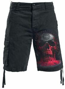 Spiral Direct BLEEDING SOUL Vintage Cargo Shorts Black/Skull/Goth/Blood