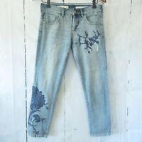 Pilcro The Letterpress Em Jeans 25 Light Floral Embroidered Crop Capri