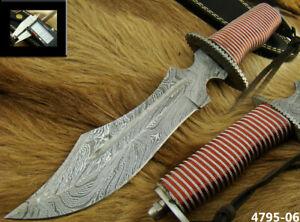 "ALISTAR 12"" HANDMADE BEAUTIFUL DAMASCUS BOWIE HUNTING KNIFE W/SHEATH (4795-6h"