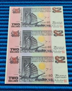 Uncut Sheet 3X Singapore Ship Series $2 Commemorative Note KQ 539180 (NO FOLDER)