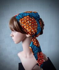 African hair scarf blue//green headband abstract bandana Afro hair wrap//tie up