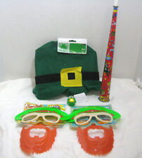 Lot of 7 St. Patrick's Day Party Pack Leprechaun Sun-Stache Hat Ring Blow Horn