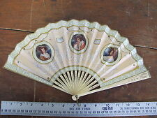 1800 Antique Duvelleroy Paris Carved Bovine Bone Folding Hand Fan L'Elysee Hotel