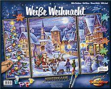 Weiße Weihnacht Schipper Malen nach Zahlen Triptychon Malvorlage 40x50 2x 20x50