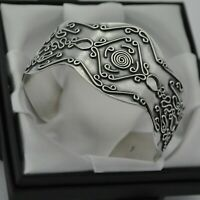 Solid 925 Sterling Silver Wide & Heavy Vintage Ornate Design Boho Cuff Bracelet