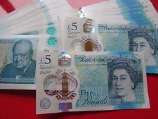 Mint Condition 2016 Polymer £5 Five Pound Note Consecutive S/No's AD Prefix