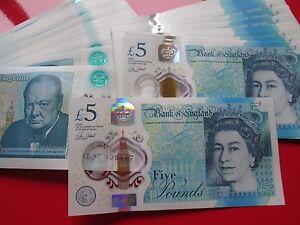 Mint Condition 1 x 2016 Polymer £5 Five Pound Note Consecutive S/No's AD Prefix