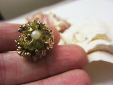 Vintage Coral 1970 Olivine Peridot Ring, Green Chunky Cocktail Adjustable sizes