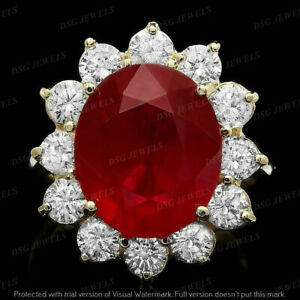 5Ct Oval Red Ruby & Diamonds Flower Wedding Engagement Ring 14k Yellow Gold Over