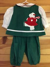 FUNTASIA! TOO Girls 3 Piece Green Corduroy Ice Skating Bear Outfit EUC 3 Months