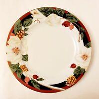 "4 Tienshan Magnolia Fine China Gold Trim Holiday Dinner Plates 10.5"" set of 4"