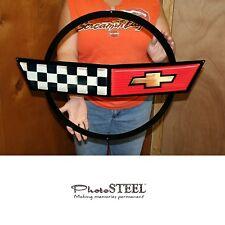 "C4 Corvette Crossed Flag Wall Emblem Large Metal Art 84-90 Full 27"" x 19"""