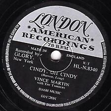 """1956 VINCE MARTIN & THE TARRIERS  78 """" CINDY, OH CINDY """" UK LONDON HL.N 8340 EX-"""