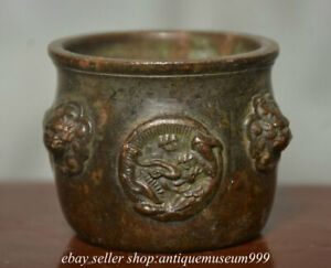 5.5CM Marked Old Chinese Copper Dynasty Palace Dragon Lion Ear Incense Burner