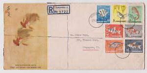 SINGAPORE - 1962 Fishes Definitives FDC, reg. mail 3722, large envelope (S49)