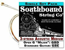 Cigar Box Guitar String Set: 3-string Acoustic Medium Open G/Standard 34-01-01