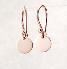 Solid 9ct Rose / Pink Gold  6.5mm Drop Disc Earrings Polished Finish