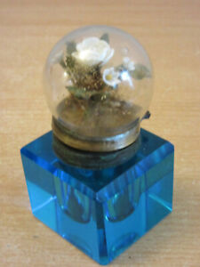 Unusual Antique Blue glass inkwell bubble dome lid with flower diorama