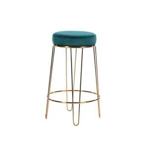 Smooth Velvet Teal Blue Green Round Stool Gold Metal Legs Upholstered Seat