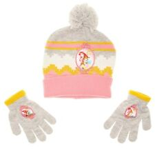 NEW NWT Girls Disney Princess Winter Hat and Gloves Belle Cinderella Ariel