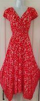 Womens Monsoon Red White Spot Split Back Hanky Hem Midi Floaty Tea Dress 10 New.