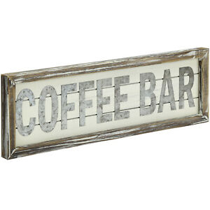 Rustic COFFEE BAR Sign Galvanized Silver Metal on Vintage White and Torched Wood
