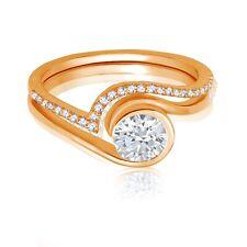 Bridal Engagement or Right Hand Ring Yin Yang Simulated Diamond Rose Gold