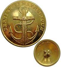 Bouton creux en métal doré : Service Sémaphorique, à l'ancre de marine de 23 mm