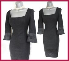Karen Millen Dark Grey Wool Blend 3/4 Sleeves Formal Office Shift Dress UK 14 42