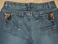 BACCINI JEANS SZ 12 OR EURO 31 W/ LEOPARD CHEETAH ACCENTS WRINKLE ACCENTS VGC
