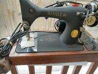 Vintage Singer sewing machine 128-23 crinkle finish, Attachments included, used